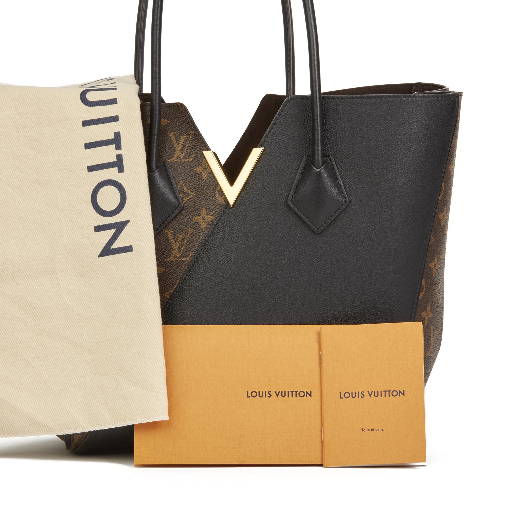 6ef6a87b731a Louis Vuitton Brown Monogram Coated Canvas   Black Calfskin Leather Kimono  MM