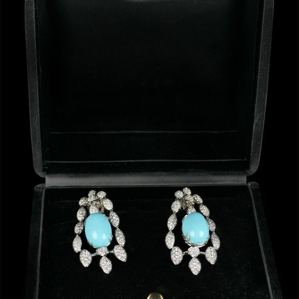 R C M Gioielli of Valenza Italian Turquoise & Diamond Girandole Drop Earrings