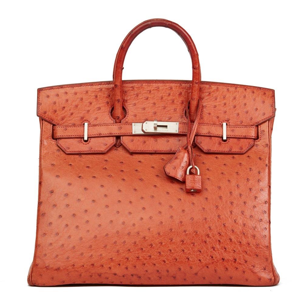 Hermès Tangerine Ostrich Leather Birkin 32cm HAC