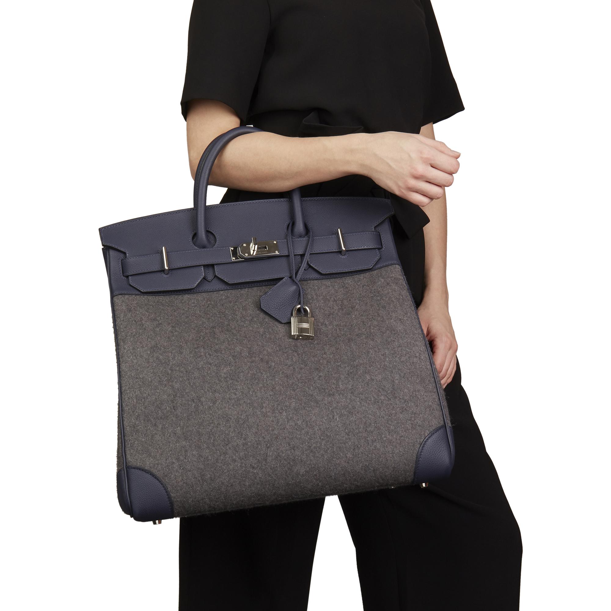 3047b0e7905 Hermès Blue Nuit Togo Leather   Gris Moyen Todoo Feutre Birkin 40cm HAC