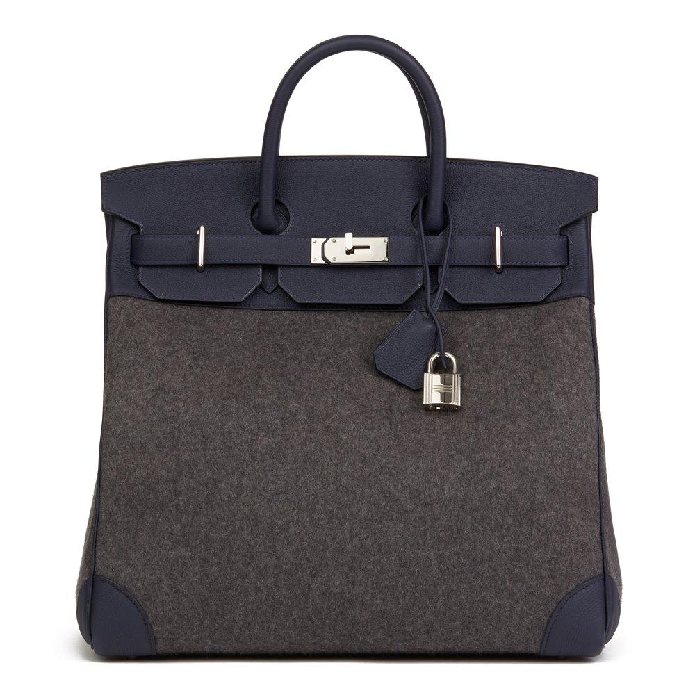 Hermès Blue Nuit Togo Leather & Gris Moyen Todoo Feutre Birkin 40cm HAC