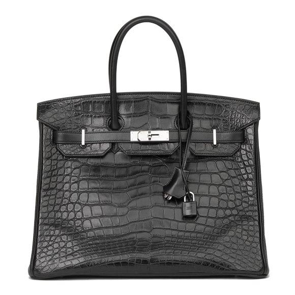 Hermès Black Matte Mississippiensis Alligator, Clemence & Box Calf Leather Touch Birkin 35cm