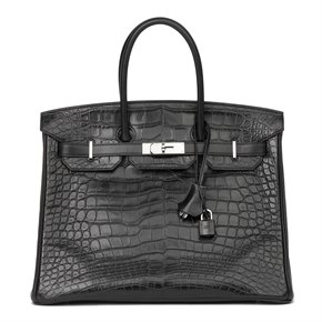 Hermès Black Matte Mississippiensis Alligator, Clemence & Box Calf Leather Touch Birkin 35cm