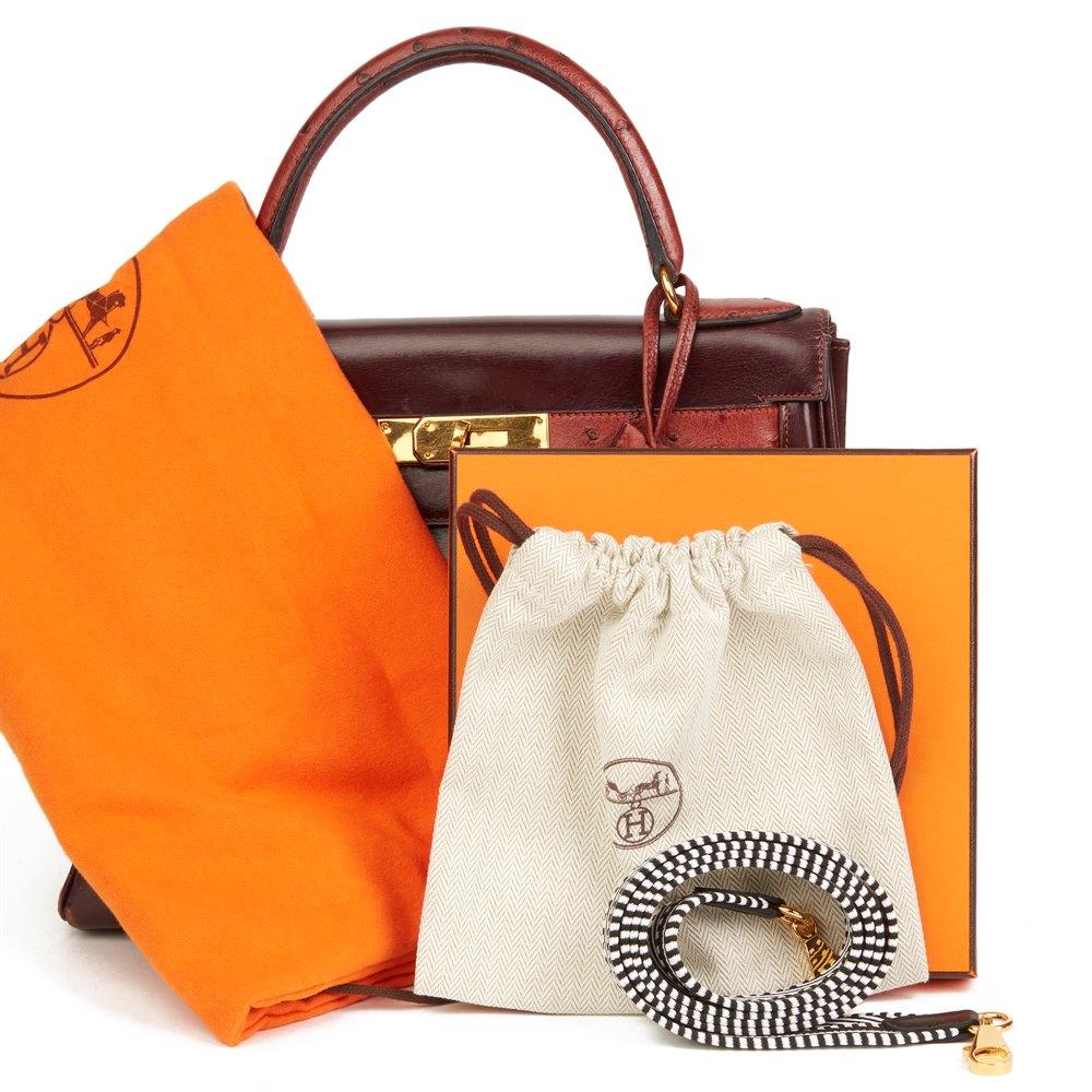 52f4c4872a01 Hermès Rouge H Ostrich   Box Calf Leather Vintage Kelly 28cm Retourne