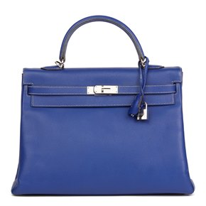 Hermès Bleu Electric & Mykonos Epsom Leather Candy Collection Kelly 35cm Retourne