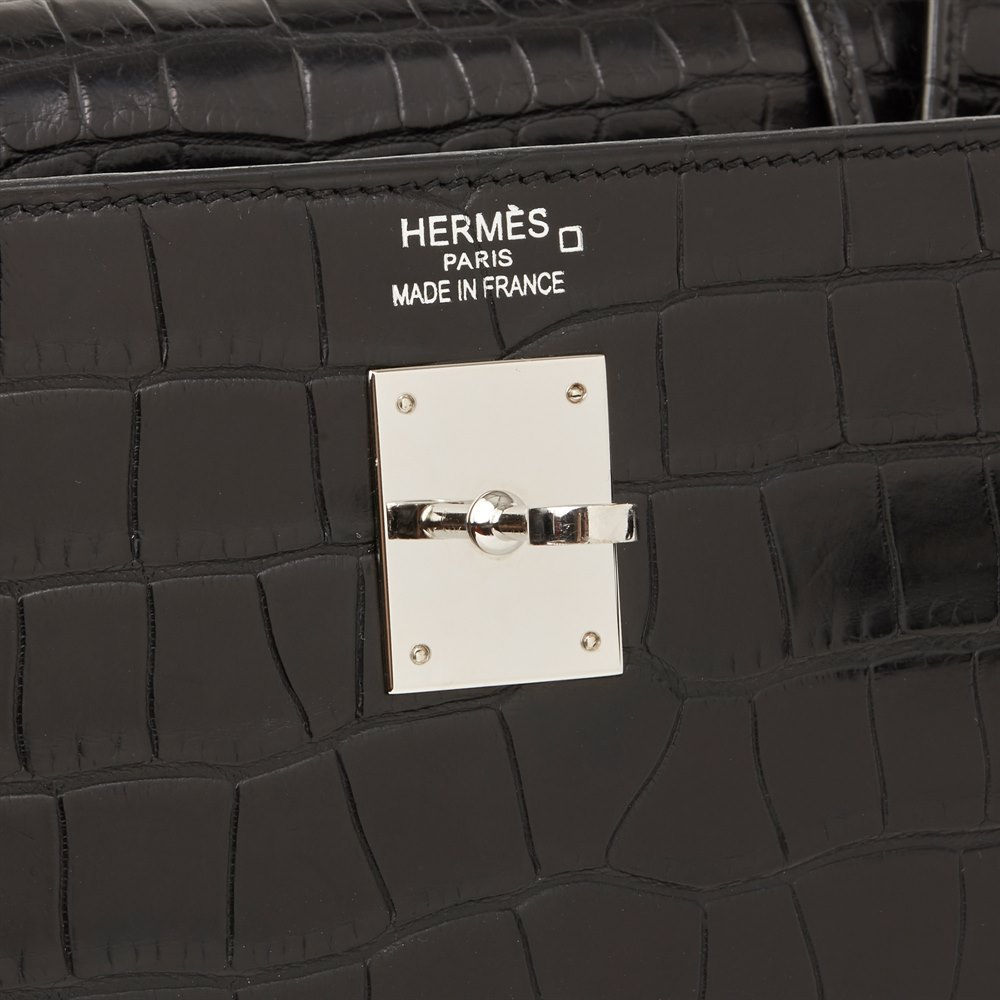 Hermès Black Matte Mississippiensis Alligator Leather Kelly 35cm Retourne