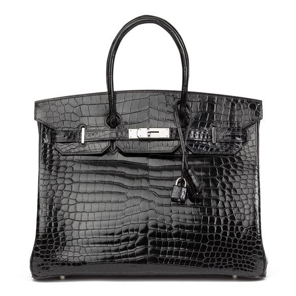 Hermès Black Shiny Porosus Crocodile Leather Birkin 35cm