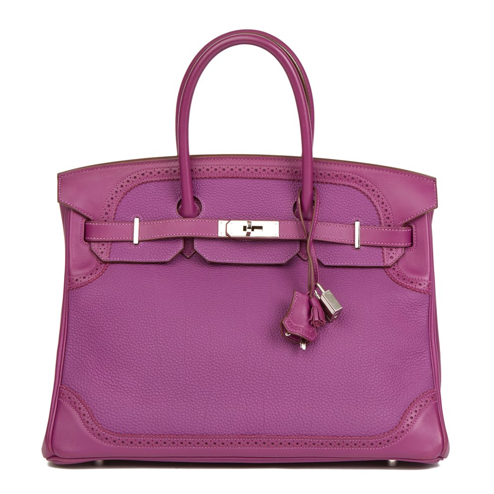 Hermès Anemone Togo & Swift Leather Ghillies Birkin 35cm