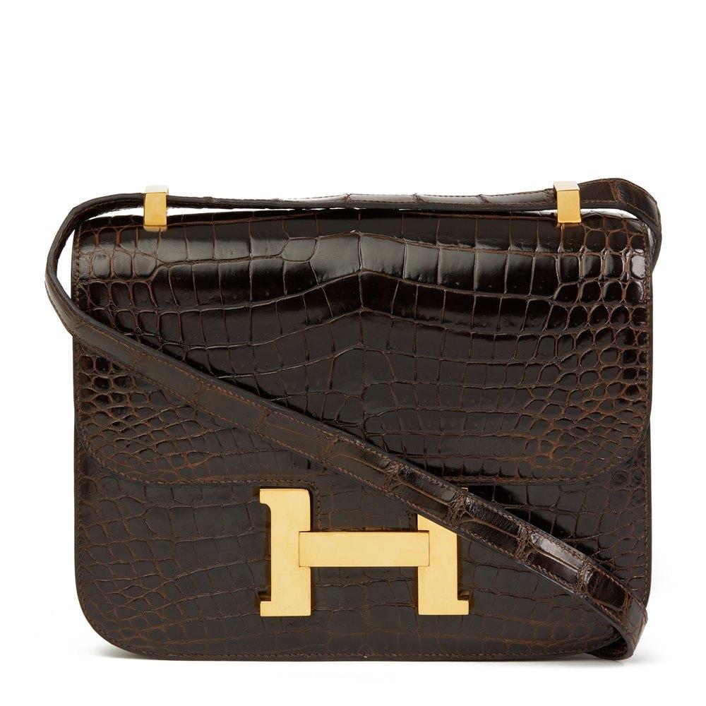 Hermès Marron Fonce Shiny Caiman Crocodile Leather Vintage Constance 24