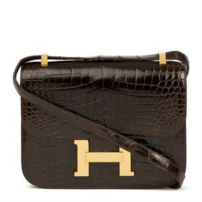 Hermès Marron Fonce Shiny Caiman Crocodile Leather Vintage Constance 24