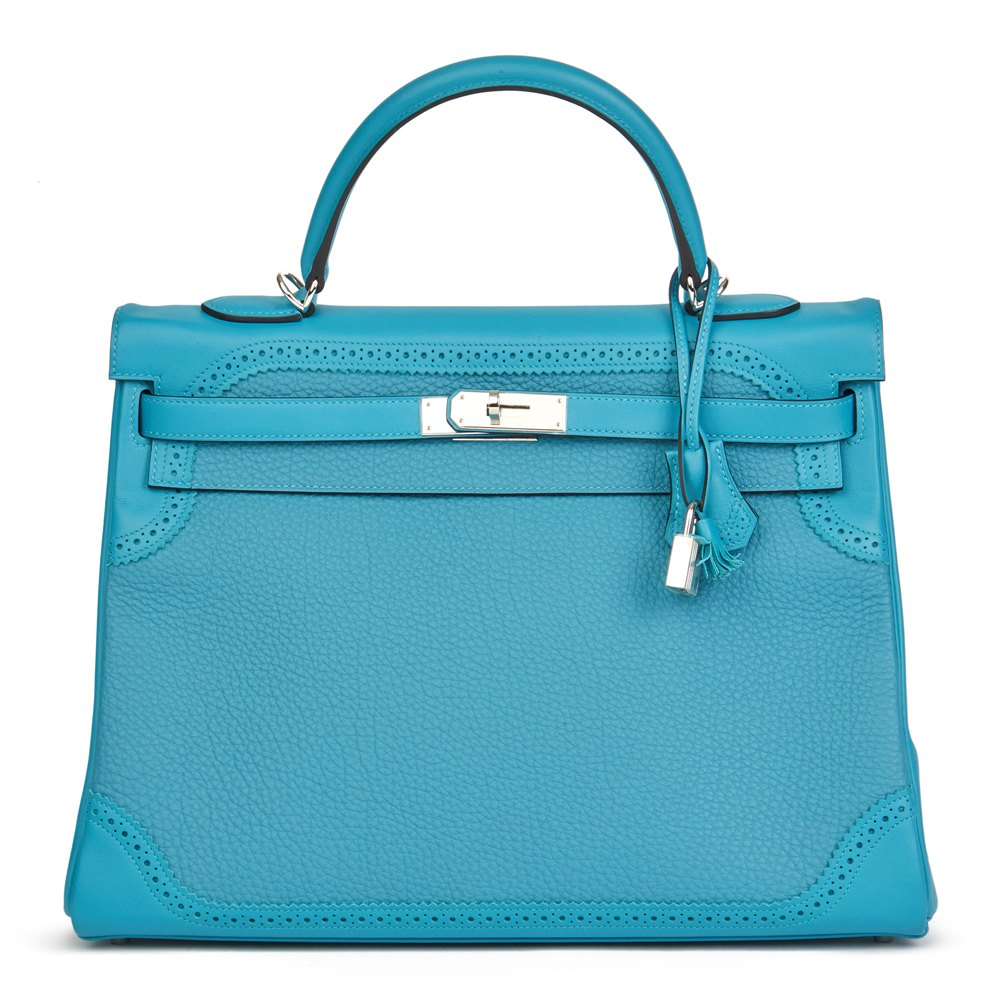 Hermès Turquoise Togo & Swift Leather Ghillies Kelly 35cm Retourne