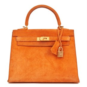 Hermès Orange H Veau Doblis Kelly 25cm Sellier