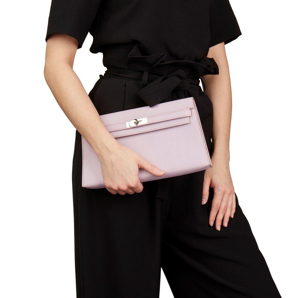 Hermès Lilac Box Nepal Leather Kelly Longue Clutch