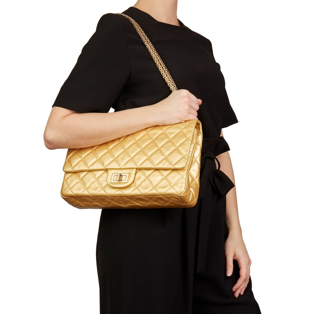 Chanel Gold Quilted Aged Metallic Calfskin Leather 2.55 Reissue 227 Double Flap Bag