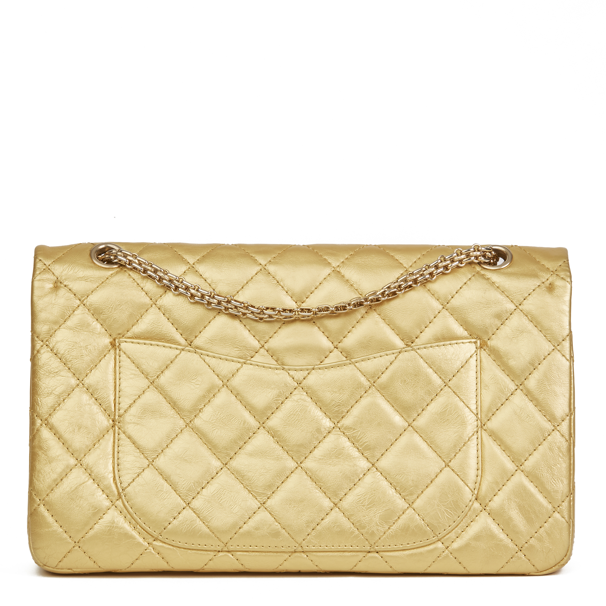 dd2241b07bb5 Details about CHANEL GOLD QUILTED AGED METALLIC CALFSKIN LEATHER 2.55  REISSUE 227 DOUBLE...