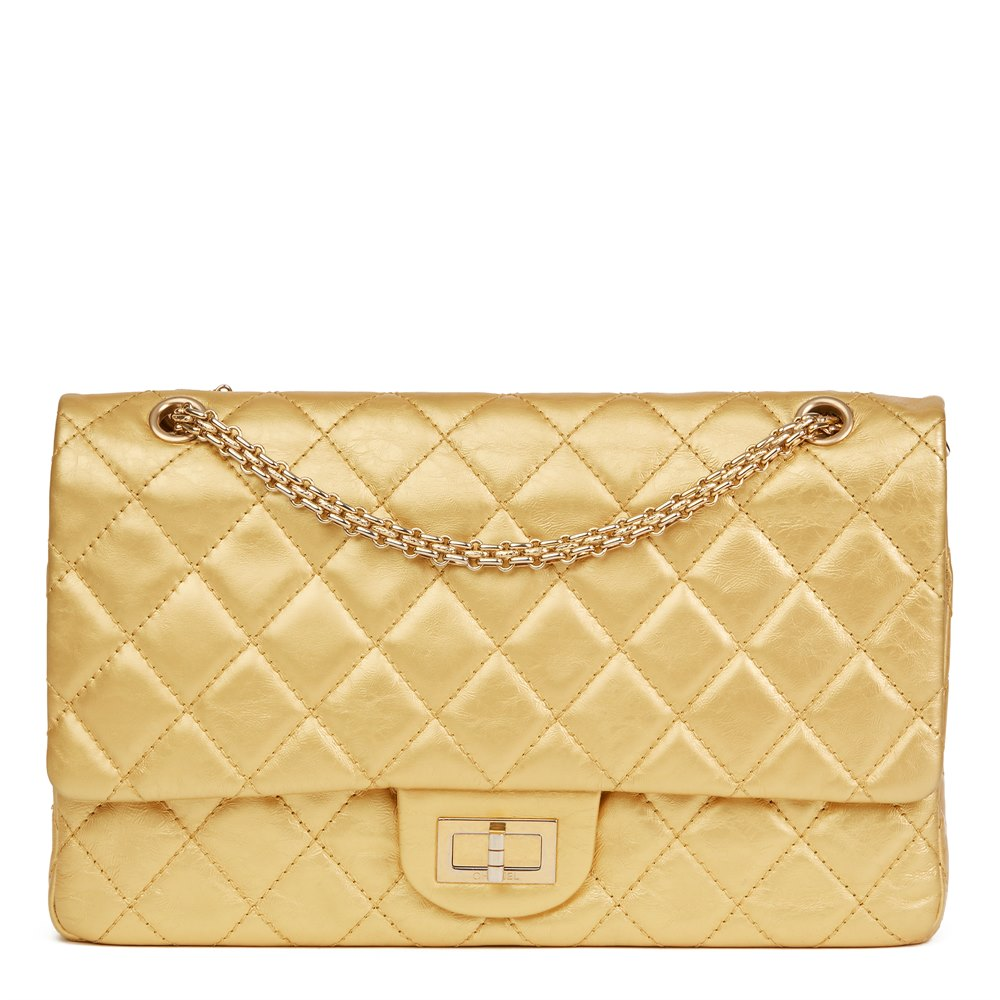 137a729f5469 Chanel Gold Quilted Aged Metallic Calfskin Leather 2.55 Reissue 227 Double  Flap Bag