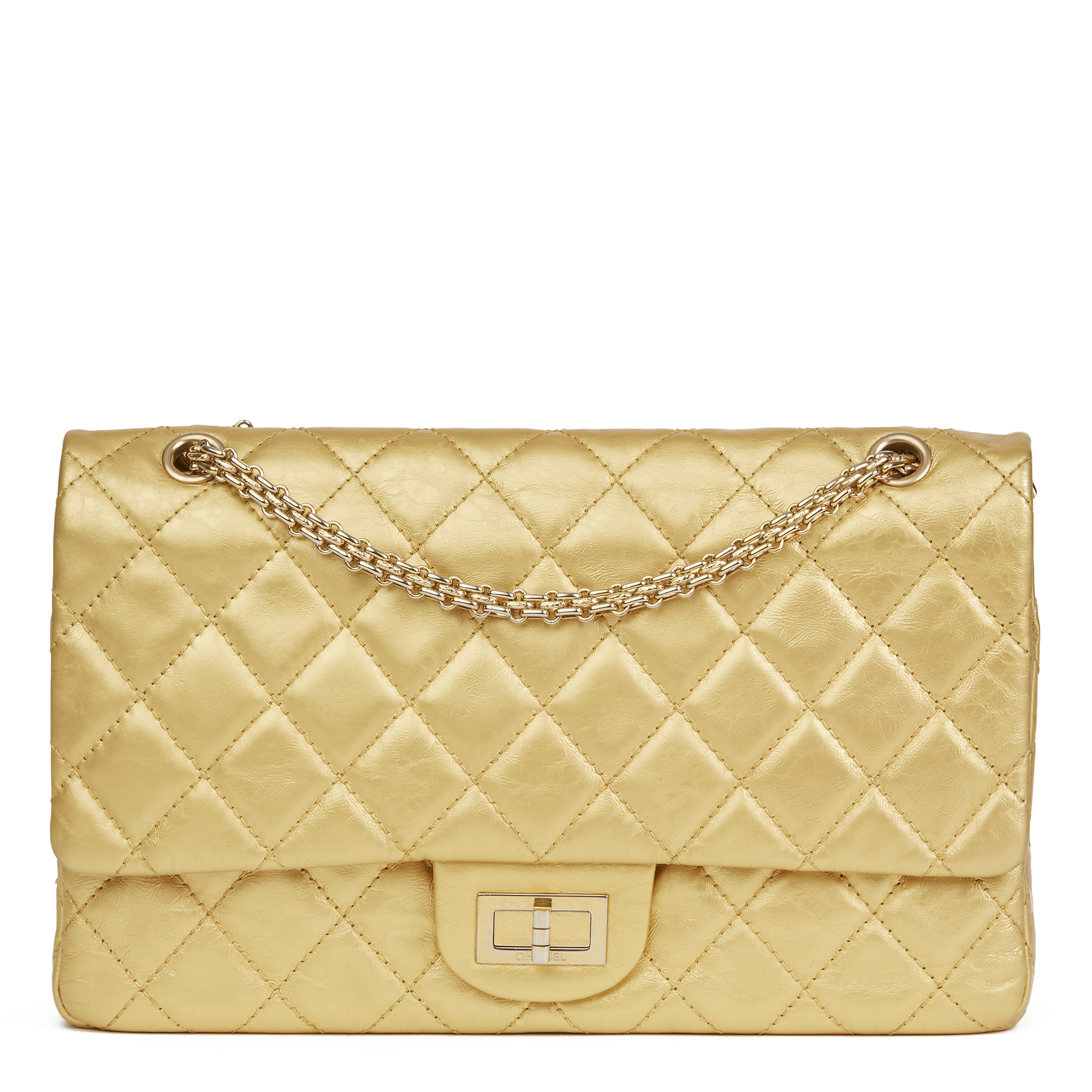 0500c033dd40 Chanel Gold Quilted Aged Metallic Calfskin Leather 2.55 Reissue 227 Double  Flap Bag