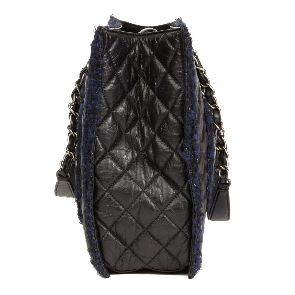 12e852c39946 Chanel Black Quilted Aged Quilted Calfskin Leather   Navy Tweed Grand  Shopping Tote GST