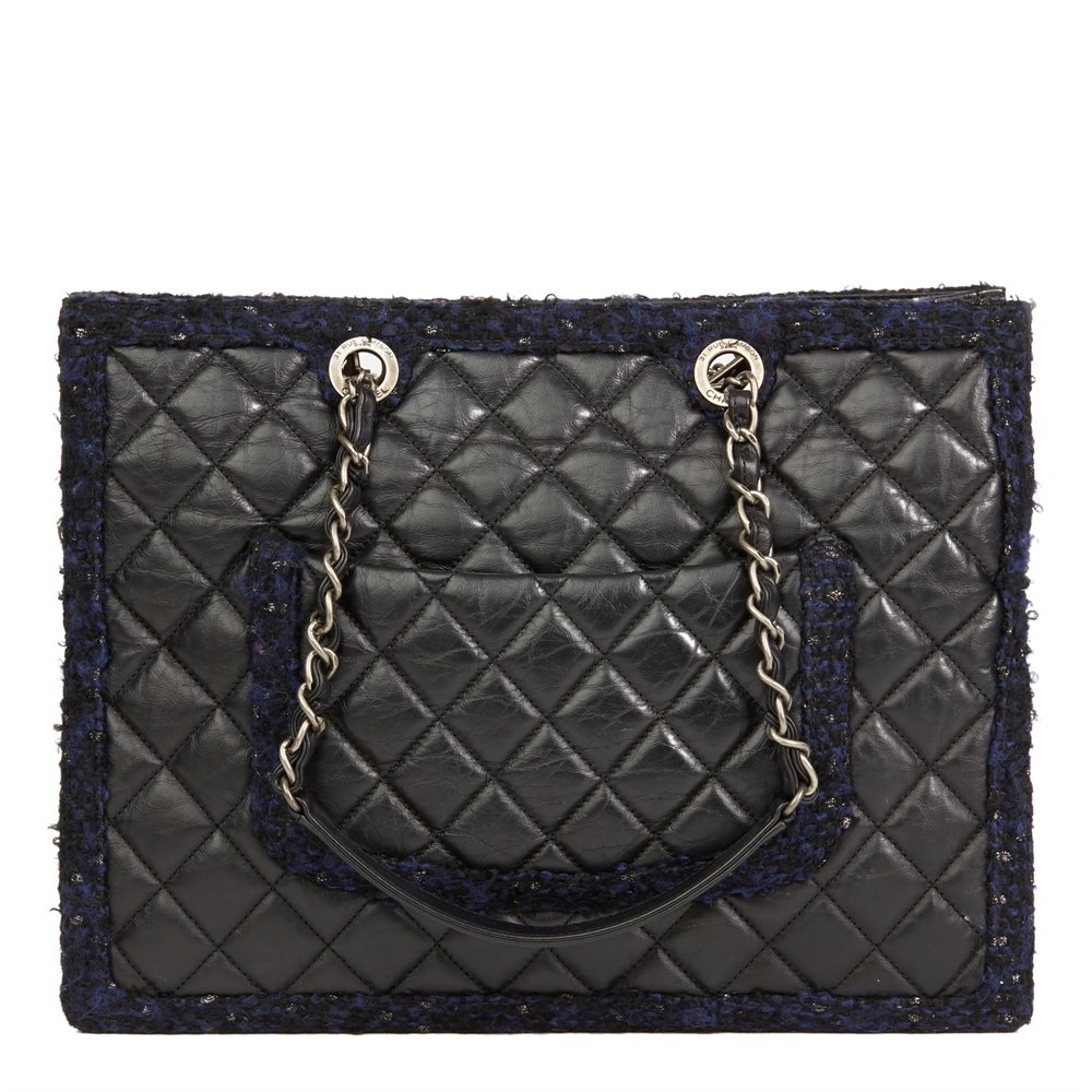118a86ec6ec4 Chanel Black Quilted Aged Quilted Calfskin Leather   Navy Tweed Grand  Shopping Tote GST
