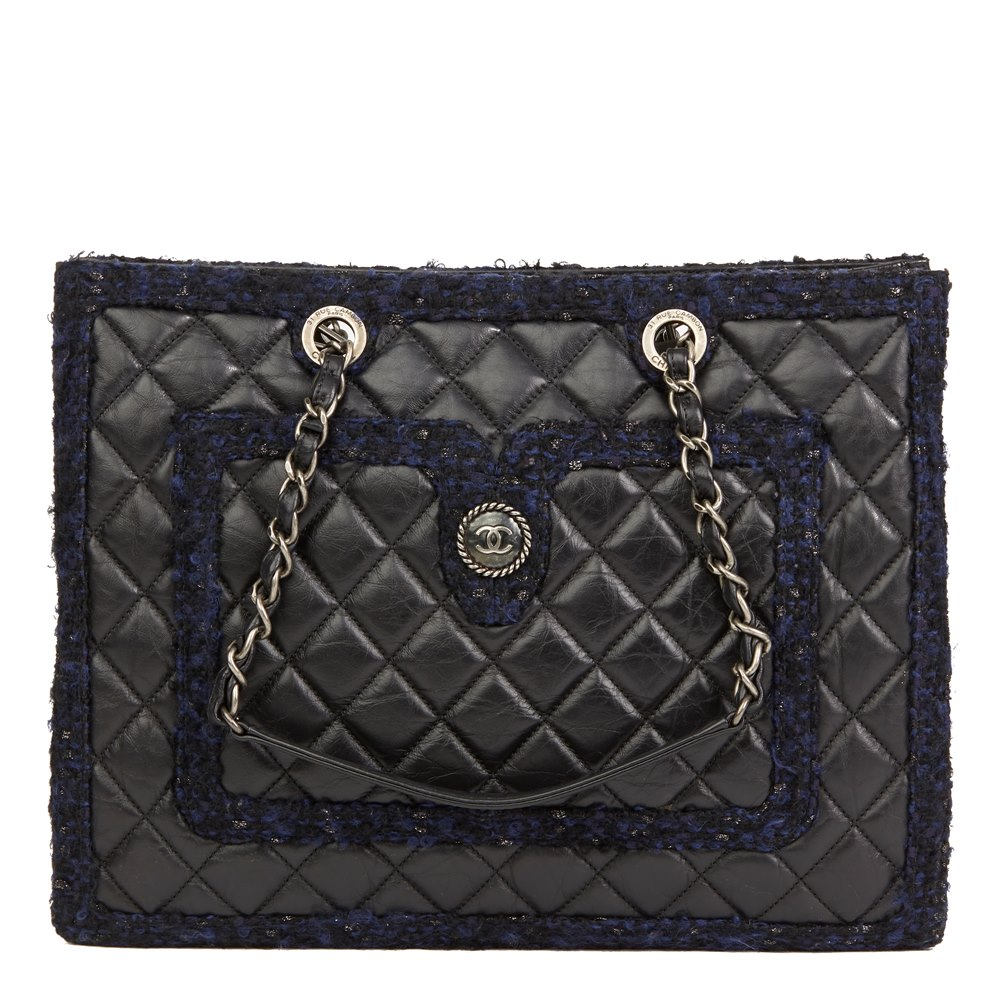 cd6c206fb080b8 Chanel Black Quilted Aged Quilted Calfskin Leather & Navy Tweed Grand  Shopping Tote GST