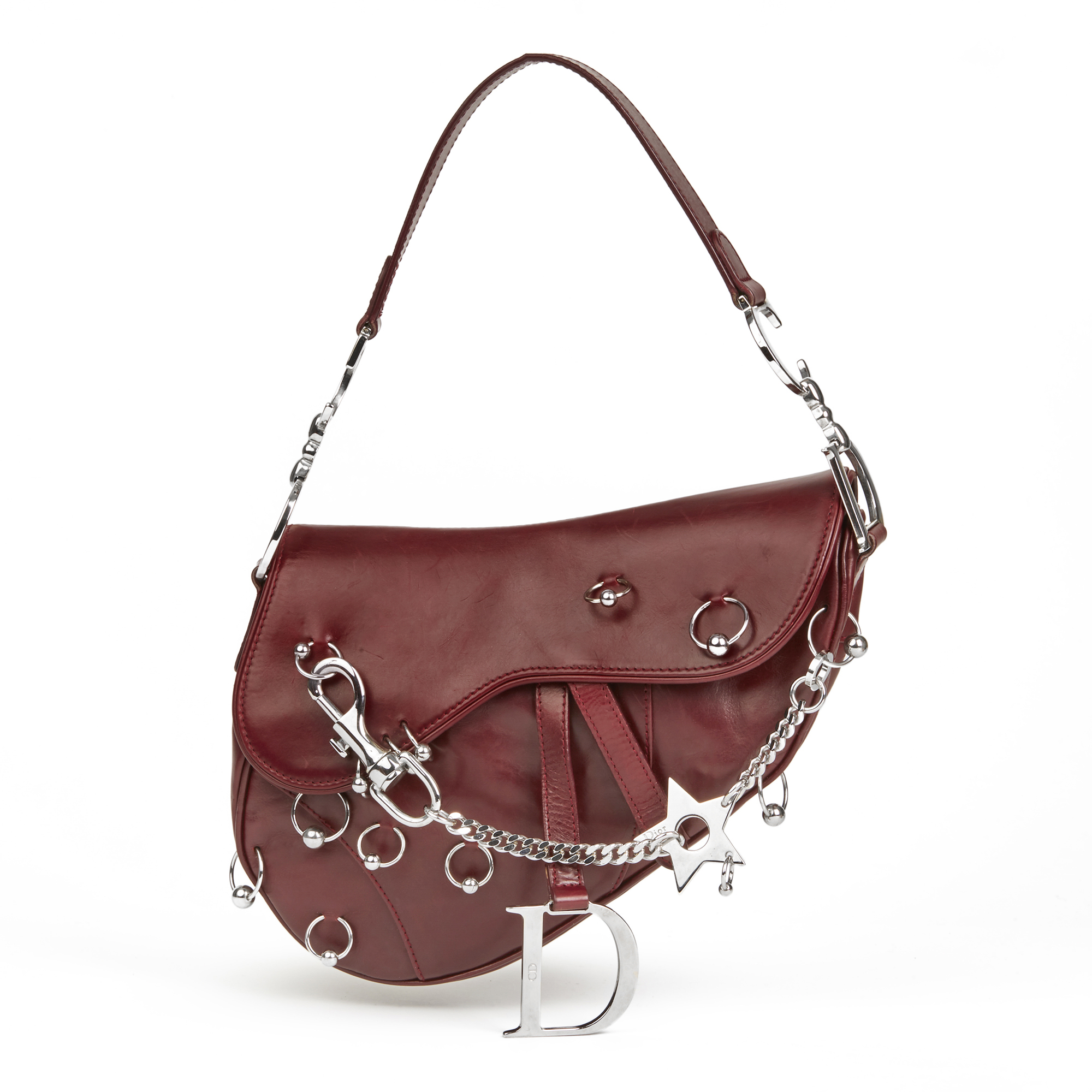 6e251c2a569e Christian Dior Burgundy Smooth Calfskin Leather Hardcore Piercing Saddle Bag