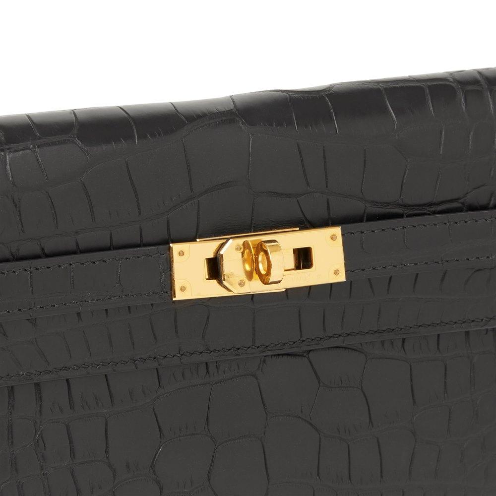 Hermès Black Matte Mississippiensis Alligator Leather Kelly Long Wallet