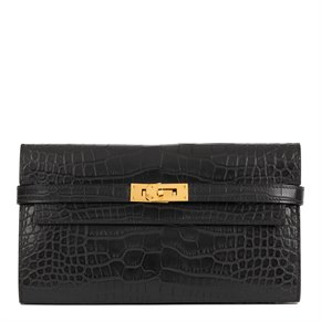 Hermès Black Matte Mississippiensis Alligator Leather Kelly Long Wallet
