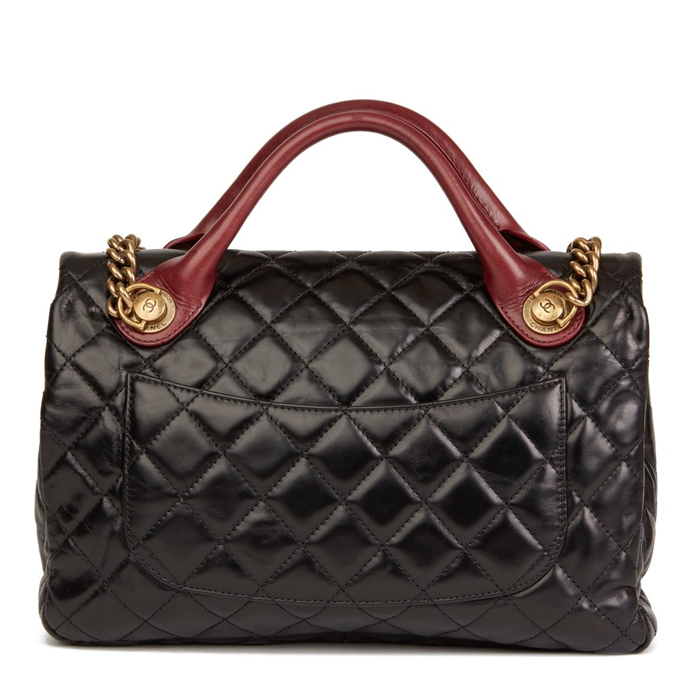 446142e9ad1a5 Bordeaux & Black Quilted Calfskin Leather Large Castle Rock