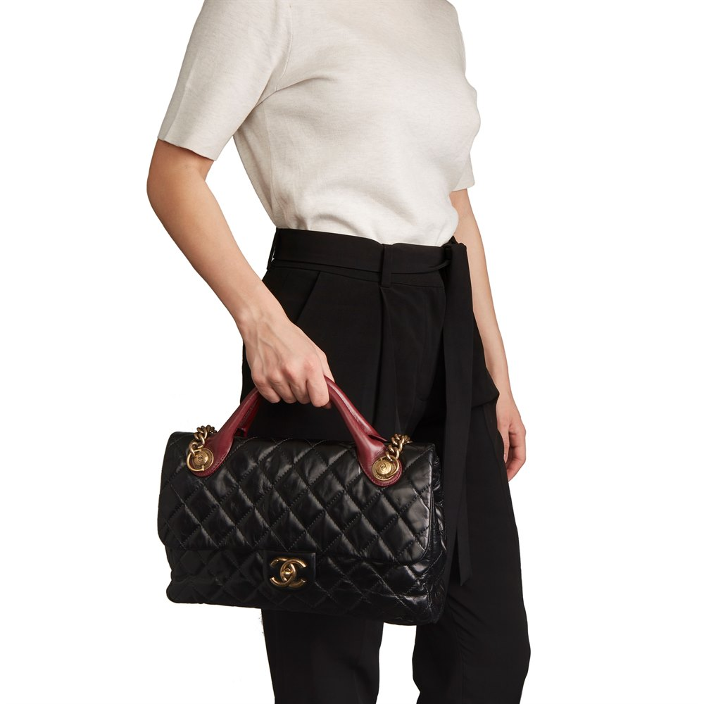 9b3ec5fe456b Chanel Bordeaux & Black Quilted Calfskin Leather Large Castle Rock