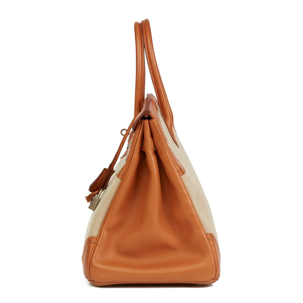 08723037ee6 Hermès Barenia Leather   Toile Ghillies Birkin 35cm