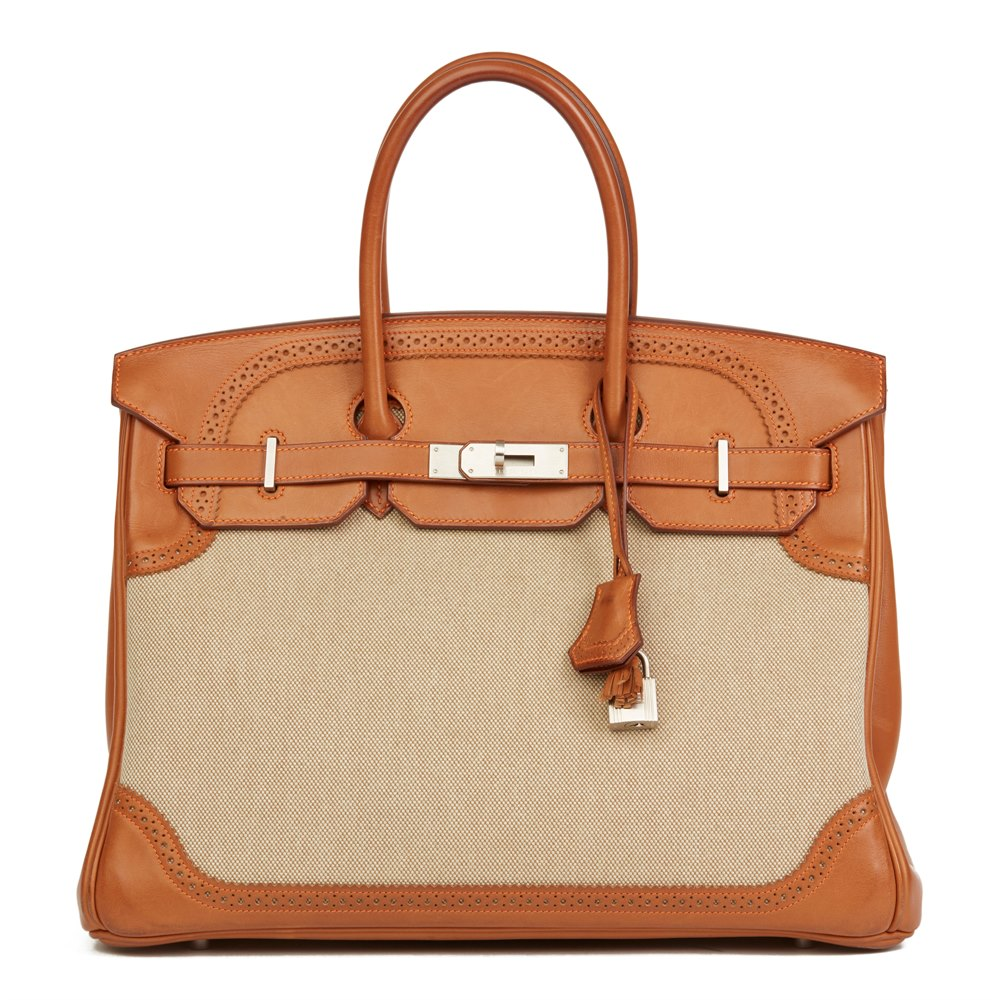 92bdf5654e Hermès Barenia Leather   Toile Ghillies Birkin 35cm