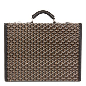 Goyard Black Chevron Coated Canvas Mallette Manoir Briefcase