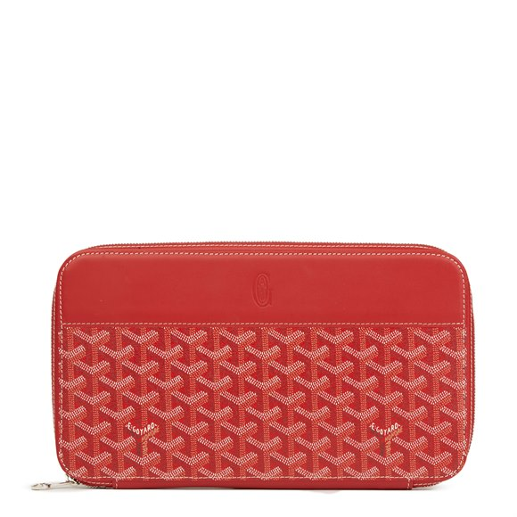 Goyard Red Chevron Coated Canvas Opera Wallet