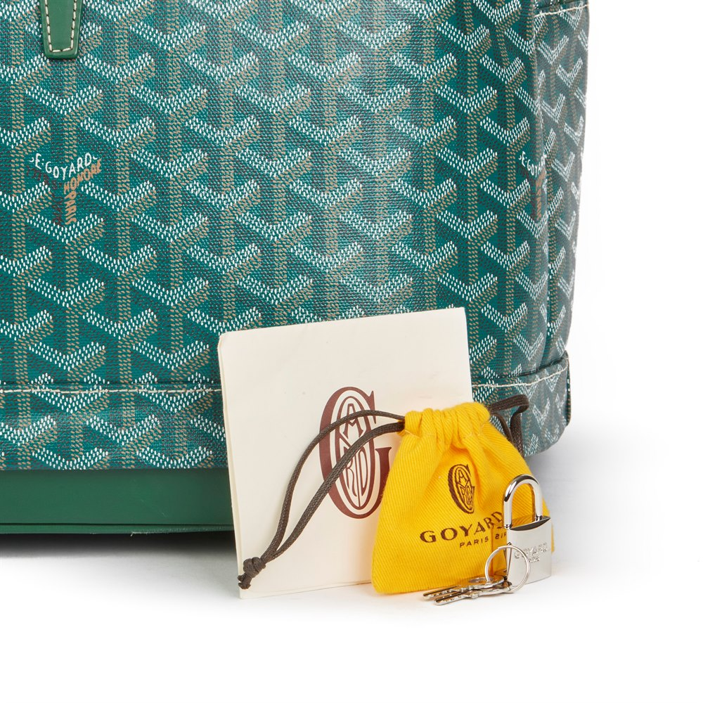 Goyard Green Chevron Coated Canvas Expandable Hotel Du Parc