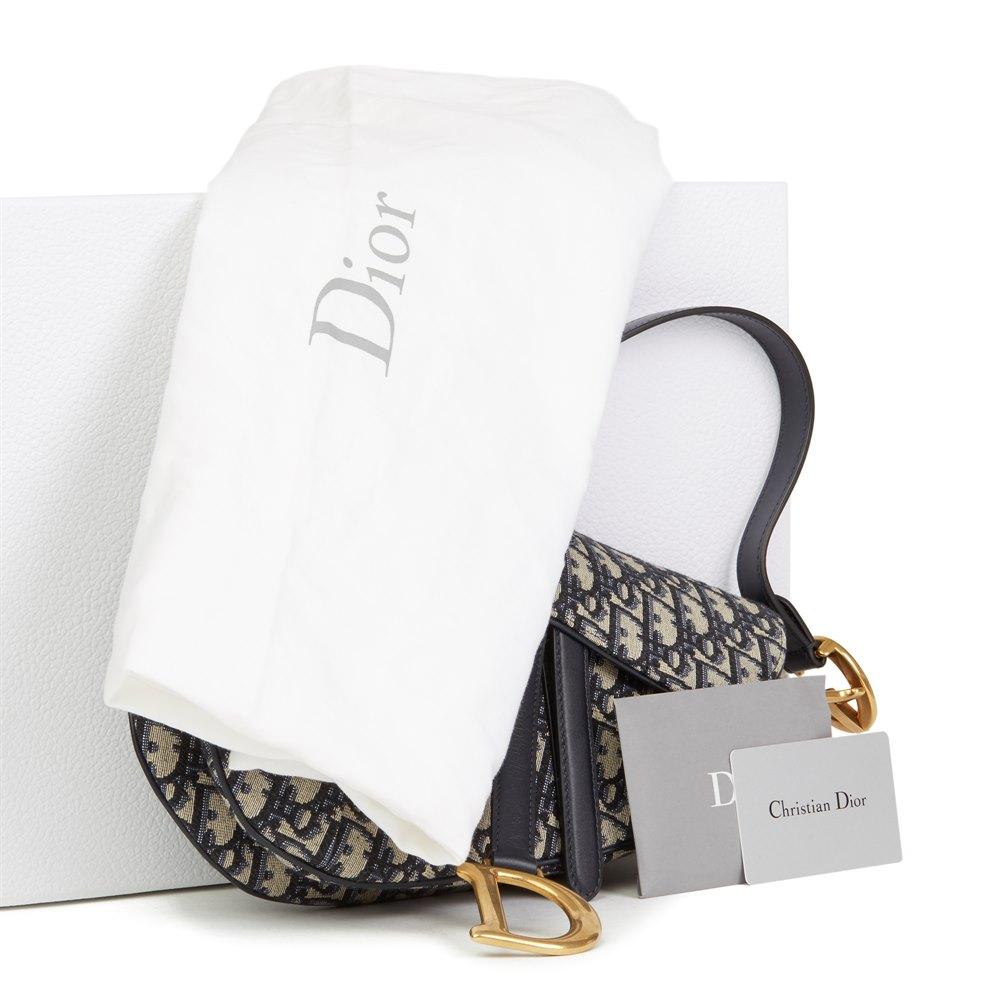 fc19b78a5dd1 Christian Dior Blue Oblique Monogram Canvas Saddle Bag