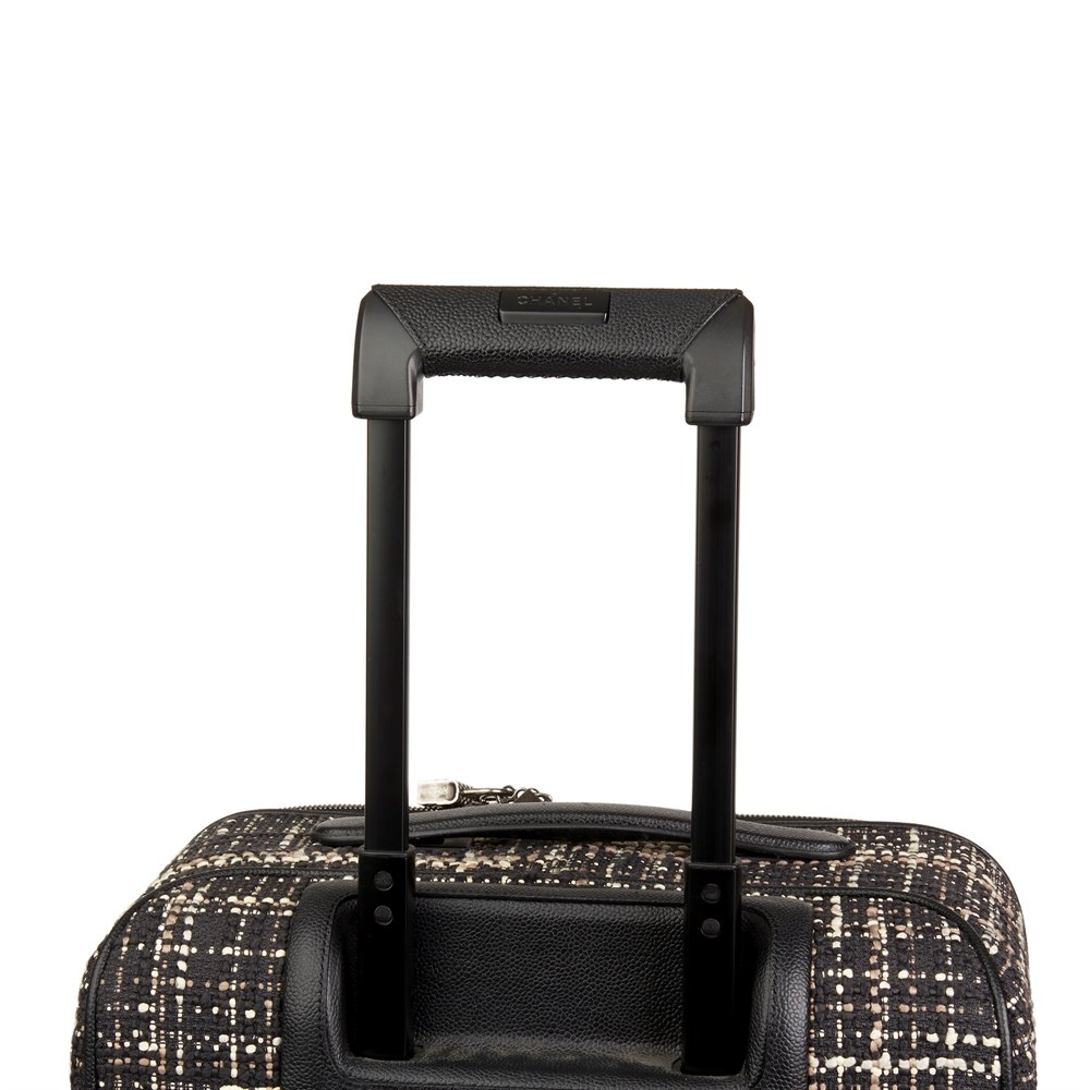 Chanel Black Tweed & Caviar Leather Jacket Trolley Rolling Suitcase