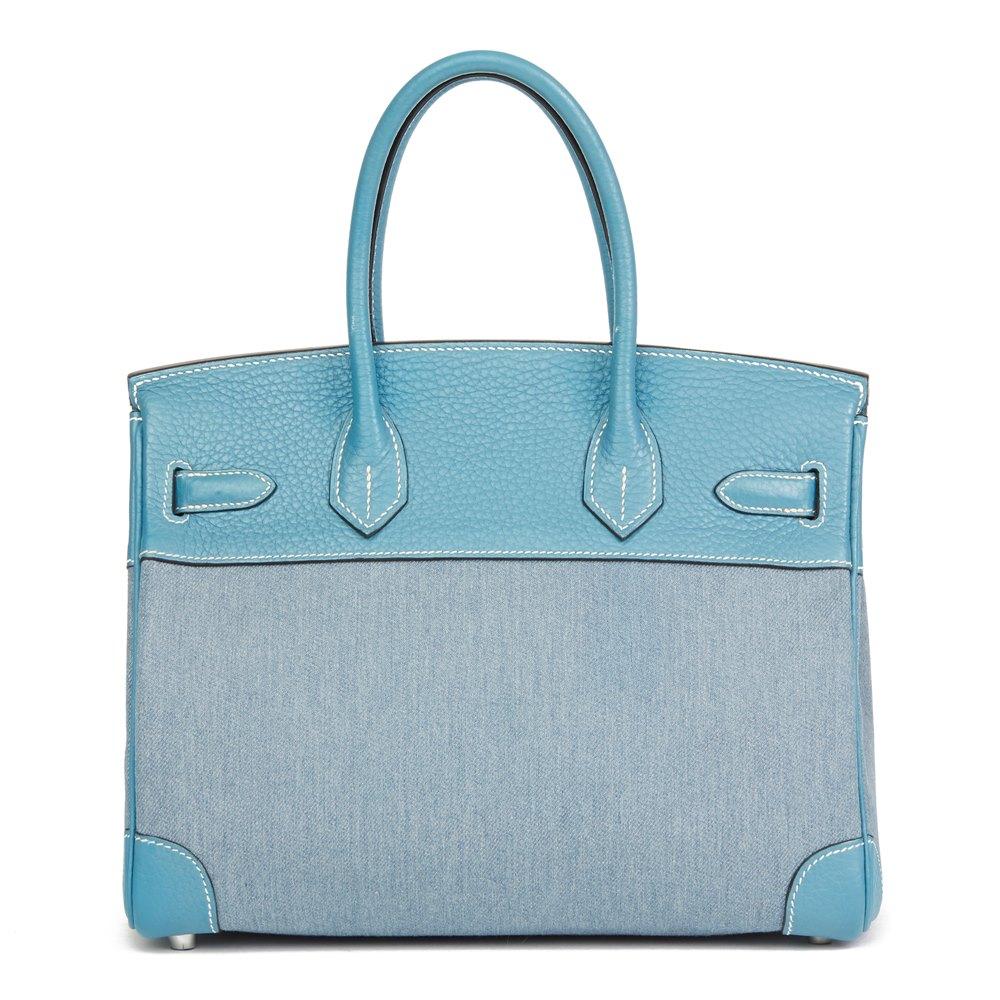 Hermès Blue Jean Clemence Leather & Denim Birkin 30cm