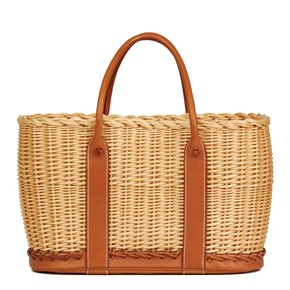 Hermès Barenia Leather & Woven Natural Osier Wicker Picnic Basket