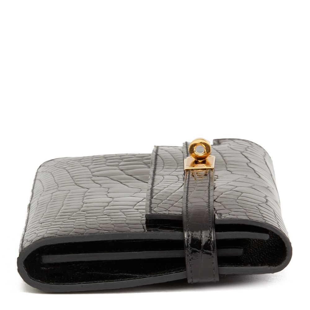 Hermès Black Shiny Mississippiensis Alligator Leather Kelly Long Wallet
