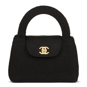 Chanel Black Woven Silk Rope Vintage Mini Classic Kelly