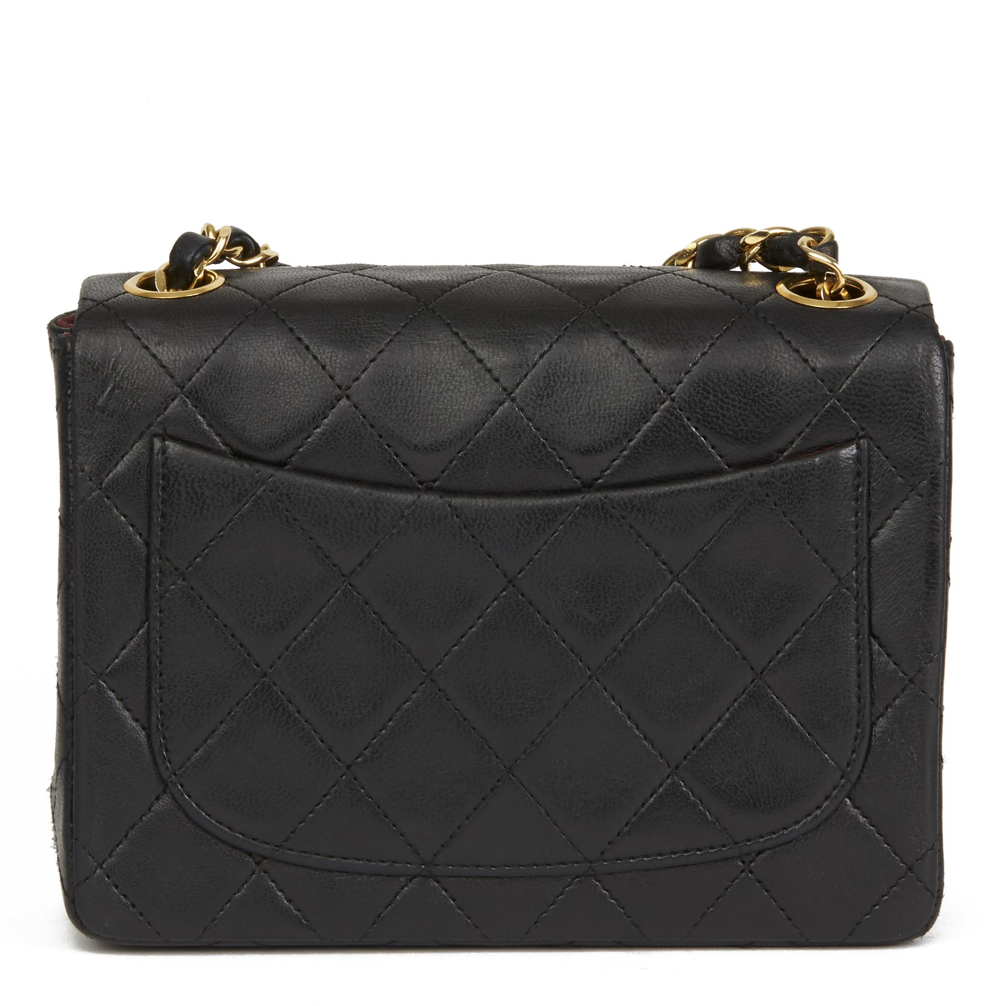322ea05630 Dettagli su CHANEL Nera Trapuntata Pelle D'Agnello Vintage Mini Flap Bag  HB2599- mostra il titolo originale