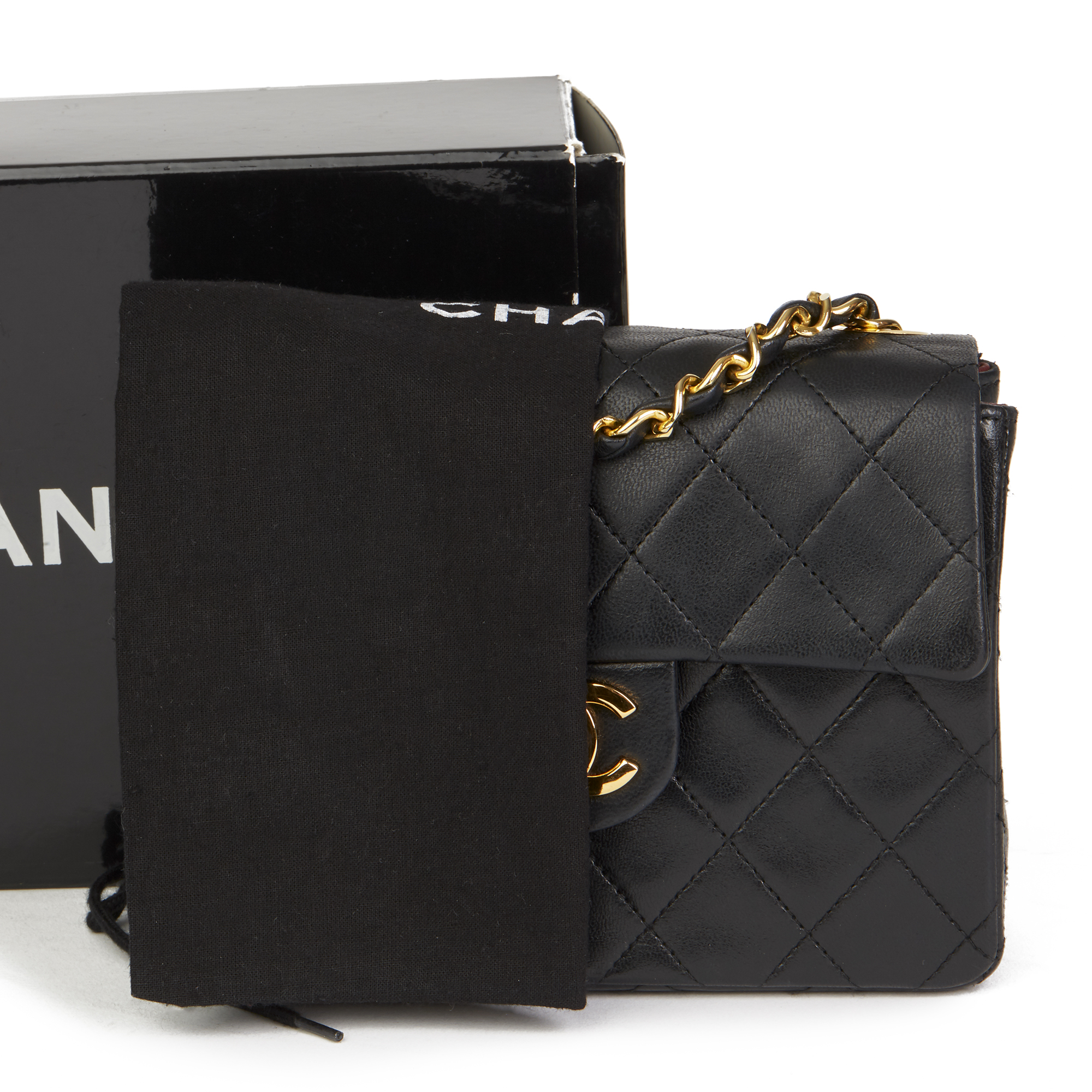 20a62a0a4da1 Details about CHANEL BLACK QUILTED LAMBSKIN VINTAGE MINI FLAP BAG HB2599