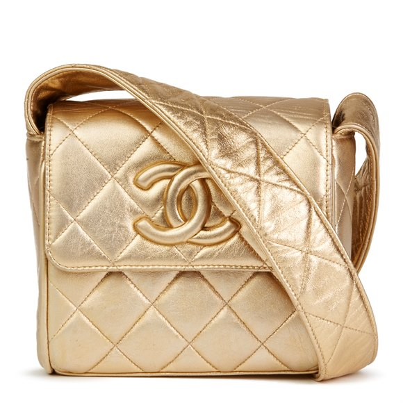 Chanel Gold Quilted Metallic Lambskin Vintage Leather Logo Shoulder Flap Bag