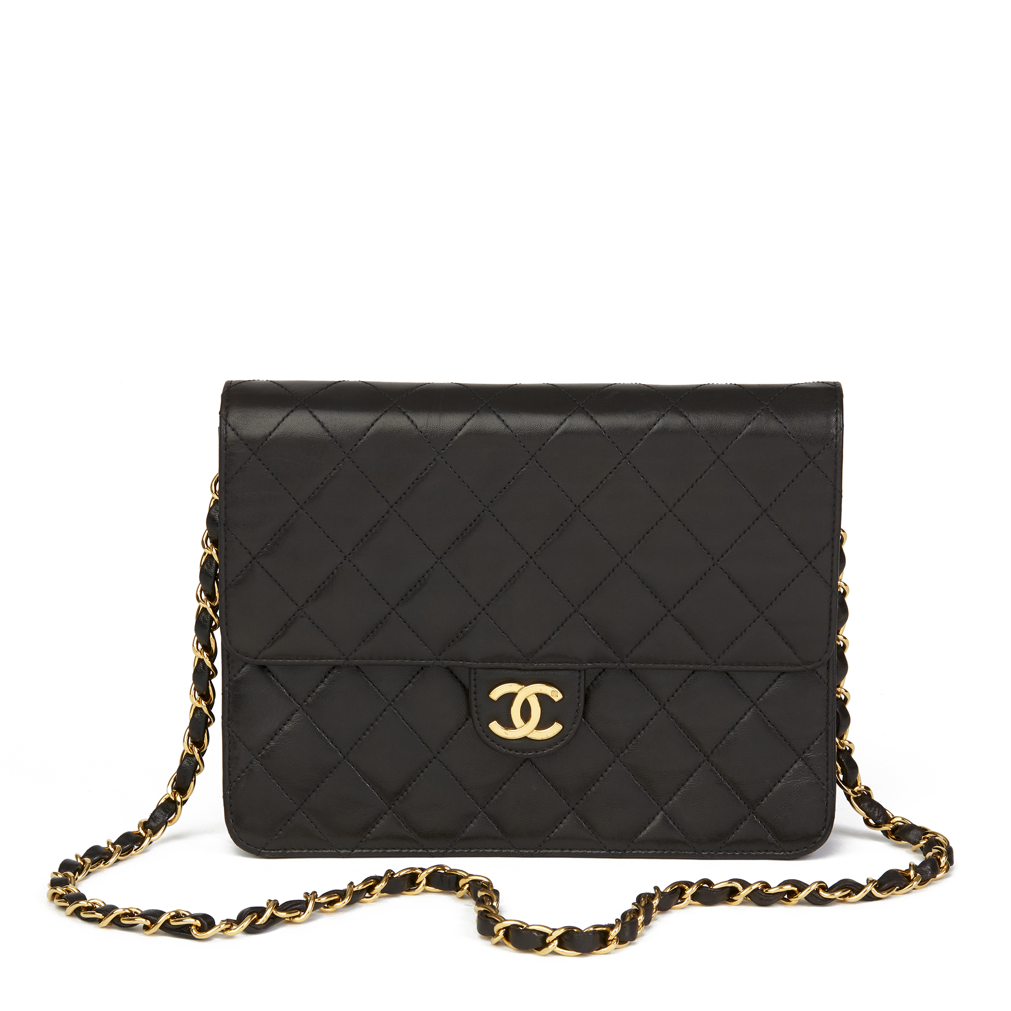6d8a4ced0c90 CHANEL BLACK QUILTED LAMBSKIN VINTAGE SMALL CLASSIC SINGLE FLAP BAG ...