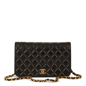 Chanel Black Quilted Lambskin Vintage Small Classic Full Flap Bag