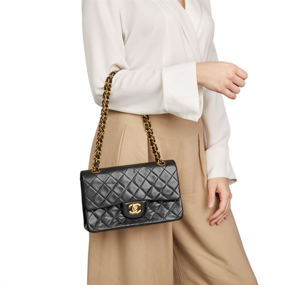 5480cf04f8dba Chanel Black Quilted Lambskin Vintage Small Classic Double Flap Bag