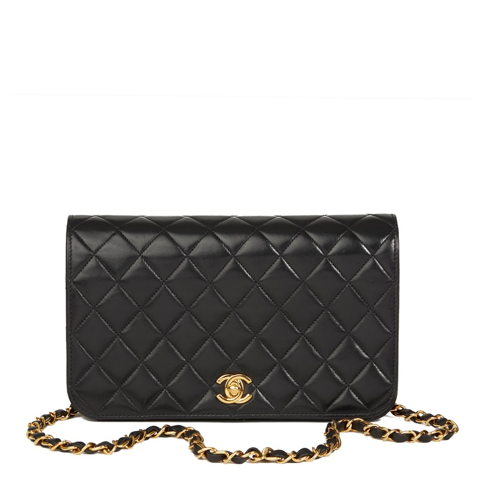 d5f2deb531da Chanel Black Quilted Lambskin Vintage Small Classic Single Full Flap Bag