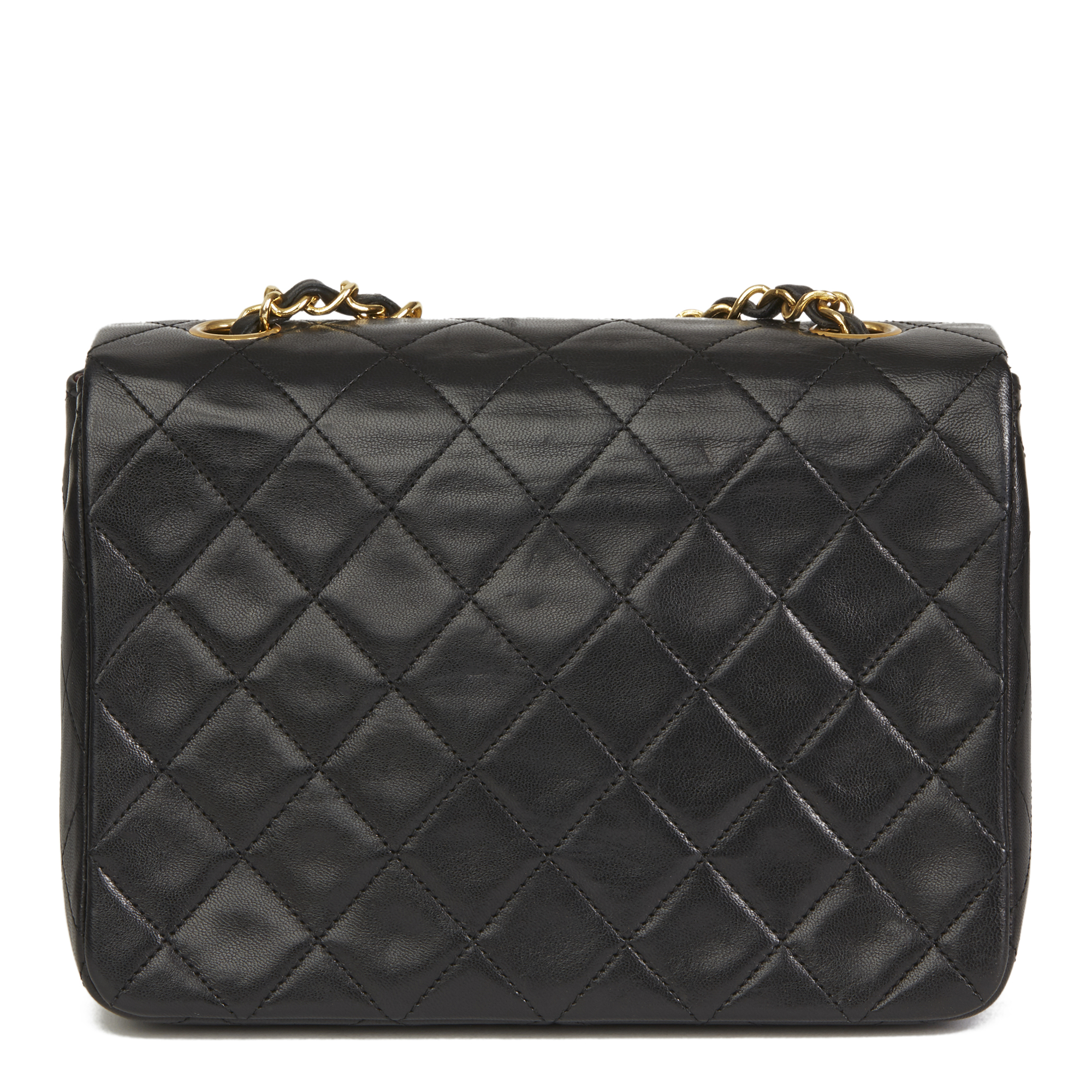 a9fe1cd86736cf Details about CHANEL BLACK QUILTED LAMBSKIN VINTAGE MINI FLAP BAG HB2633