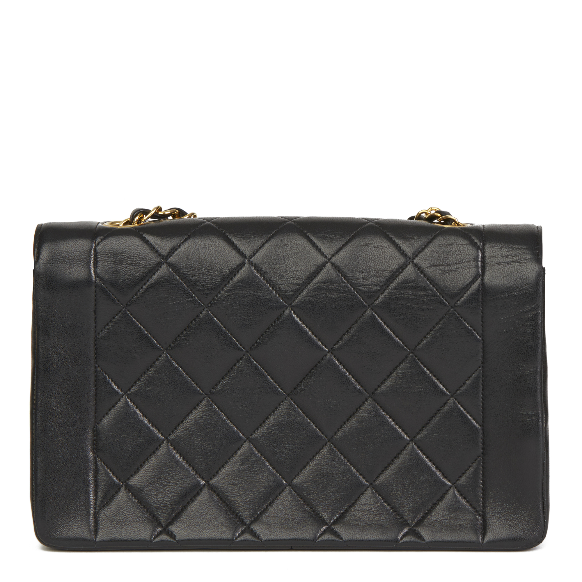 f0cc579fc516 Details about CHANEL BLACK QUILTED LAMBSKIN VINTAGE MEDIUM DIANA CLASSIC  SINGLE FLAP BAG