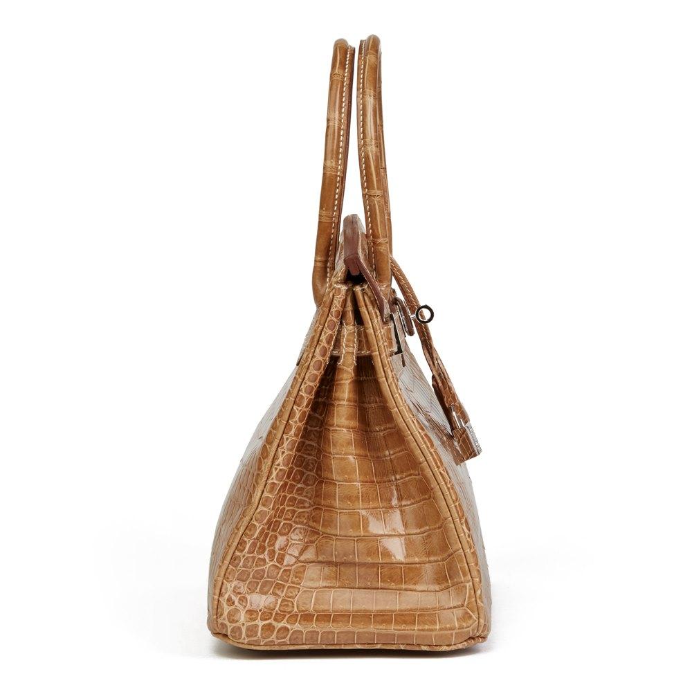 Hermès Ficelle Shiny Porosus Crocodile Leather 'Diamond' Birkin 30cm